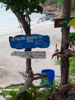 Signs at Almond Beach