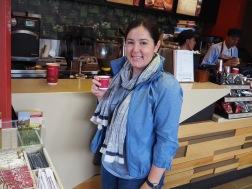 Enjoying a Juan Valdez coffee