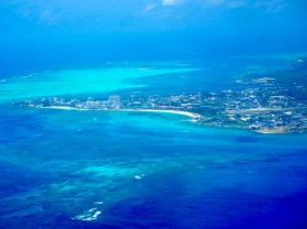 View from the plane landing in San Andres