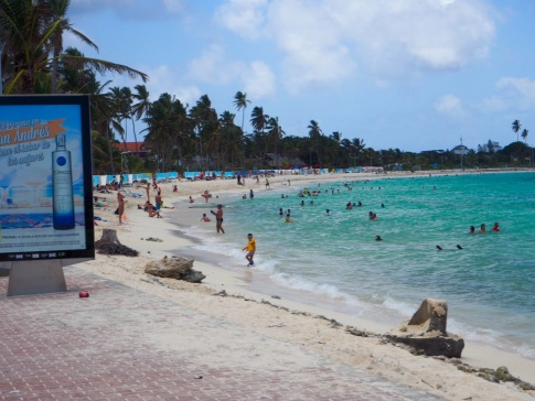 Most definitely not the empty beaches of Providencia. This is San Andres the day I had a layover.
