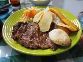 Plate lunch at a local neighborhood joint in Medellin