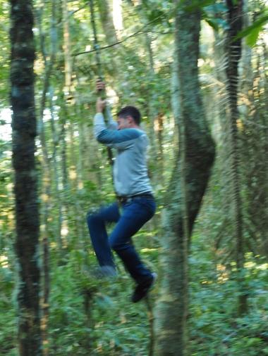 Steven swinging on things