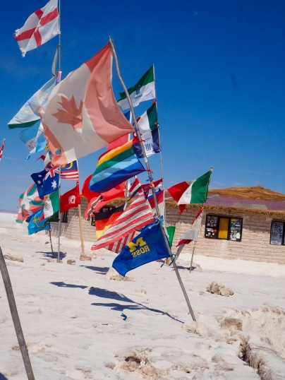 Place where people put flags, love that Canada is above the US and much bigger, along with a Michigan flag??