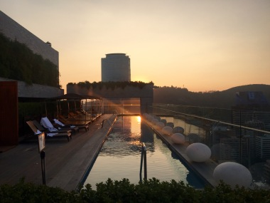 Roof pool at sunset